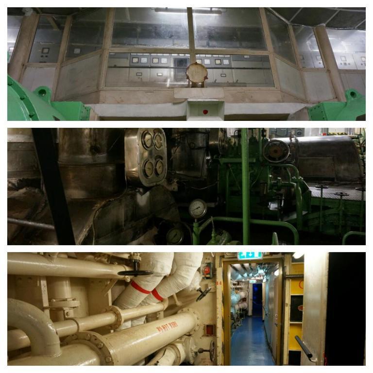 Boven: hoofdschakelbord electriciteits centrale. Midden: Voor de energie werden stoomturbines gebruikt. Onder: Onder in het schip lopen we langs heel veel meters buizen.